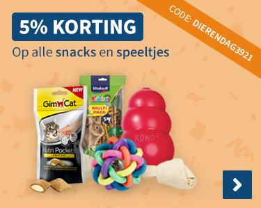 5% korting op alle snacks en speeltjes