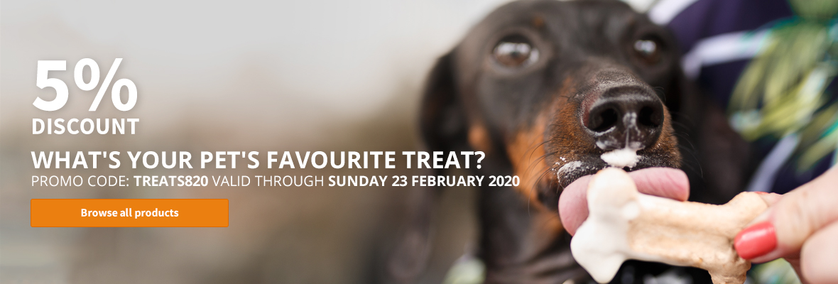 5% discount for your favourite pets treat!