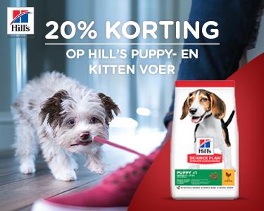 20% korting op alle hills puppy- en kitten voer