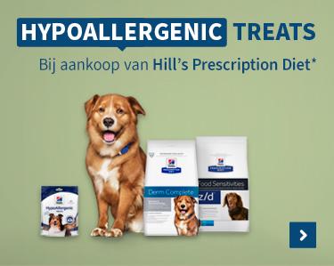 Gratis Hypoallergenic treats bij aankoop Hills Prescription Diet