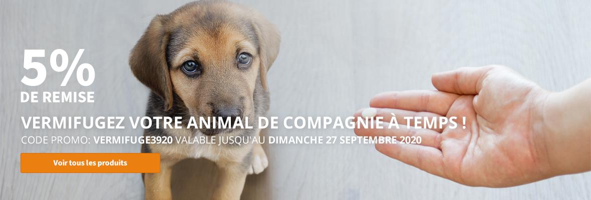 5% de remise Vermifugez votre animal de compagnie à temps !