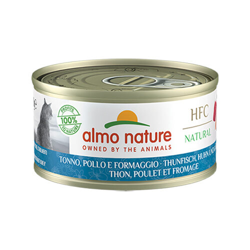 Almo Nature HFC 70 Katzenfutter - Dozen - Thunfisch, Huhn und Käse