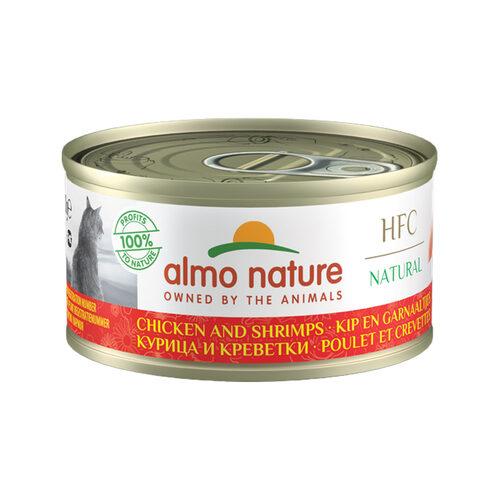 Almo Nature HFC 70 Natural Katzenfutter - Dosen - Hühn und Garnelen