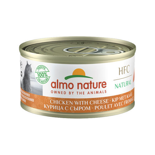 Almo Nature HFC 70 Natural Kattenvoer - Blik - Kip en Kaas