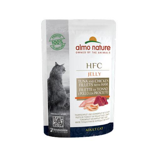 Almo Nature HFC Jelly Kattenvoer - Maaltijdzakje - Tonijn, Kip en Ham