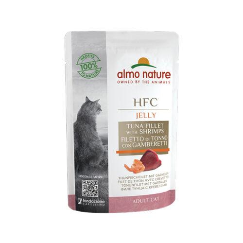 Almo Nature HFC Jelly Kattenvoer - Maaltijdzakje - Tonijnfilet en Garnalen