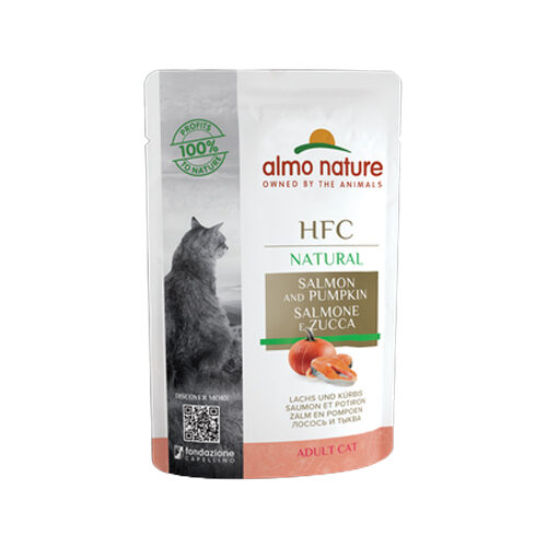 Almo Nature HFC Natural Katzenfutter- Frischebeutel - Lachs und Kürbis