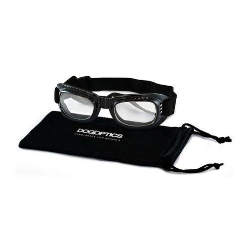 Dogoptics Hundesonnenbrille Biker - Black Frame & Clear Lens