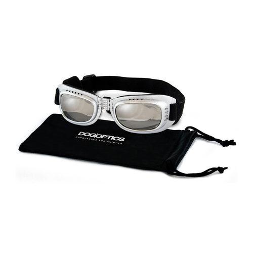 Dogoptics Hundesonnenbrille Biker - Silver Frame & Mirror Lens