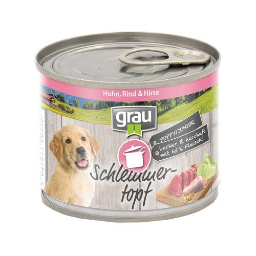 Grau Puppy/Junior Hondenvoer - Kip, rund en gierst - Blik