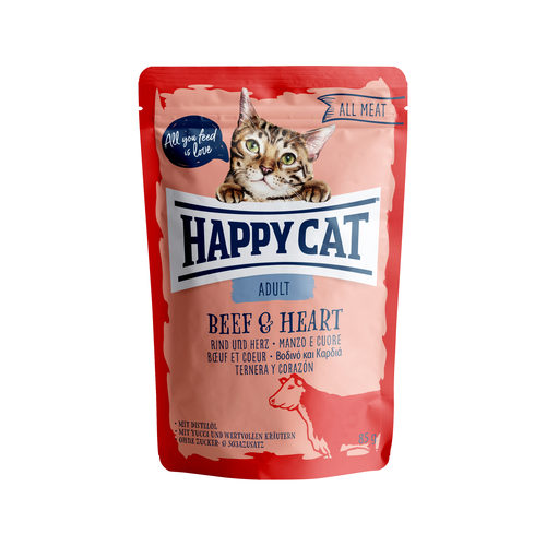 Happy Cat All Meat Adult Rindfleisch & Herz - Frischebeutel
