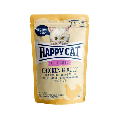 Happy Cat All Meat Junior Kip & Eend - Maaltijdzakjes
