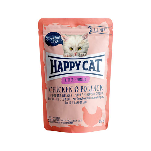 Happy Cat All Meat Junior Kip & Koolvis - Maaltijdzakjes