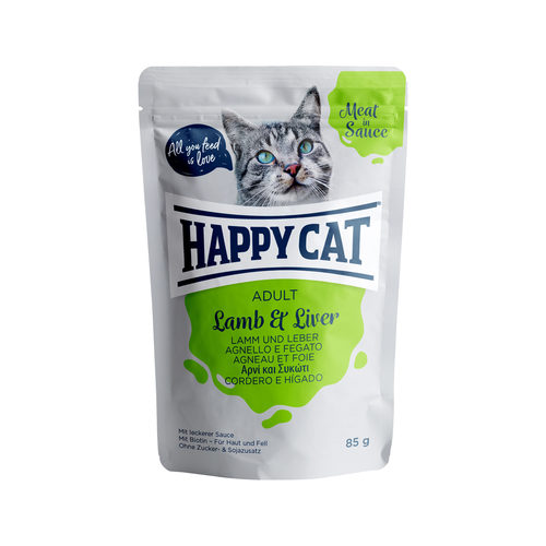 Happy Cat Meat in Sauce Adult Lam & Lever - Maaltijdzakjes