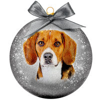 Kerstbal Frosted - Beagle