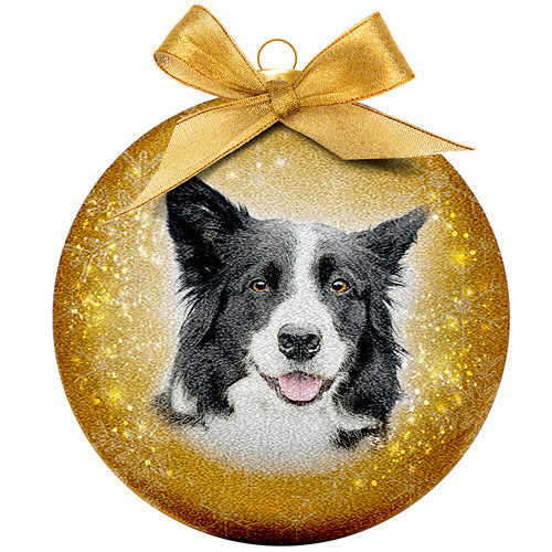 Boule de Noël Frosted - Border Collie