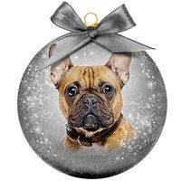 Weihnachtskugel Frosted - Französische Bulldogge