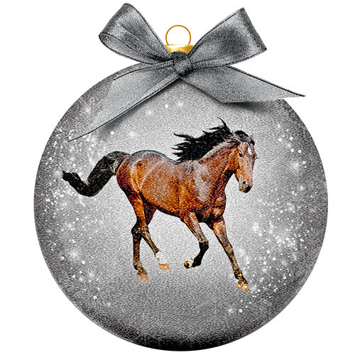 Boule de Noël Frosted - Cheval