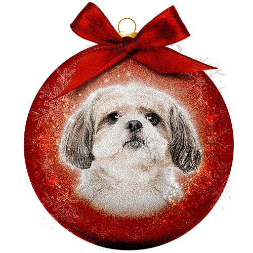 Kerstbal Frosted - Shih Tzu