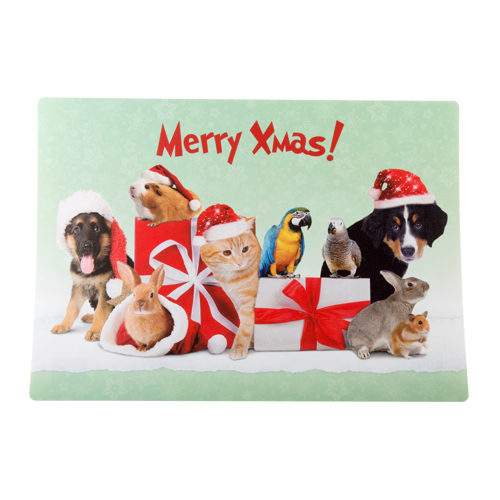Merry Pets Christmas Placemat with Various Animals