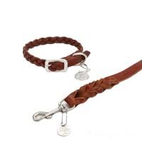 Designed by Lotte - Leder Halsband und Hundeleine Braun