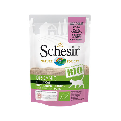 Schesir Bio Adult für Katzen - Frischebeutel mit Schweinefleisch