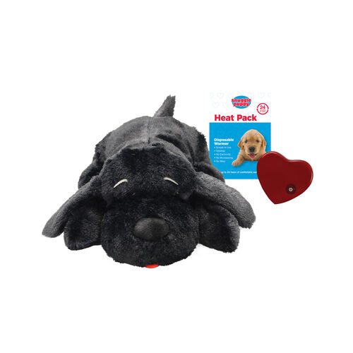 Puppy Snuggle Sack-black background with variegated hearts