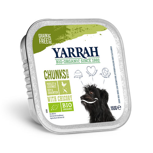 Yarrah - Dog Food Chunks with Chicken and Chicory Bio