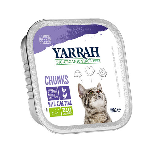 Yarrah - Natvoer Kat Kuipje Chunks met Kip & Kalkoen Bio