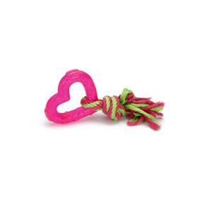 Afbeelding TPR hondenspeeltje Love Heart roze 8 cm