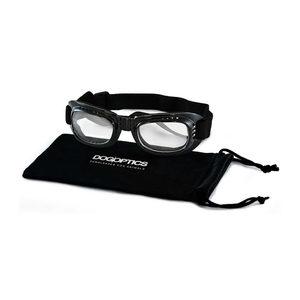 Dogoptics Hondenzonnebril Biker - Black Frame & Clear Lens - L