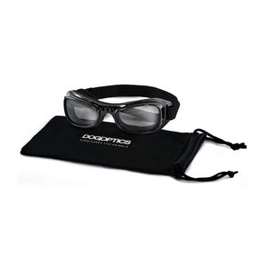 Dogoptics Hondenzonnebril Biker – Black Frame & Smoke Lens – S