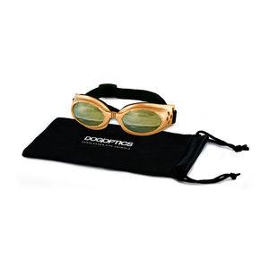 Dogoptics Hondenzonnebril Ibiza – Gold Frame & Light Mirror Lens – S