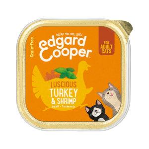 Edgard & Cooper Adult Cat – Kalkoen & Garnaal – Kuipje – 18 x 95 g