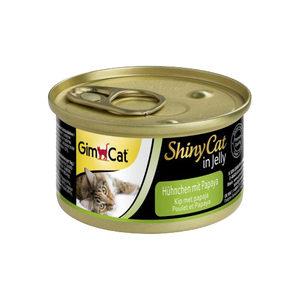 GimCat ShinyCat in Jelly - Kip met Papaya - 24 x 70 gram