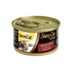 GimCat ShinyCat in Jelly - Kip met Rund - 24 x 70 gram