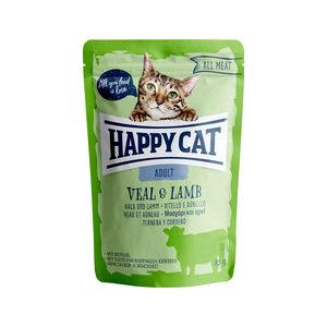 Happy Cat All Meat Adult Kalf & Lam – Maaltijdzakjes – 24 x 85 g