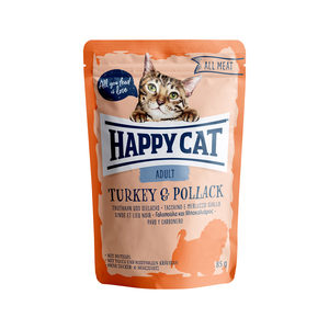 Happy Cat All Meat Adult Kalkoen & Koolvis - Maaltijdzakjes - 24 x 85 g