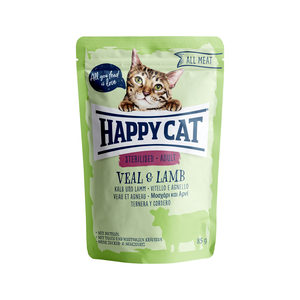 Happy Cat All Meat Adult Sterilised Kalf & Lam - Maaltijdzakjes - 24 x 85 g