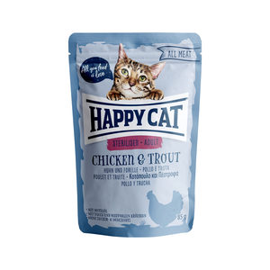 Happy Cat All Meat Adult Sterilised Kip & Forel - Maaltijdzakjes - 24 x 85