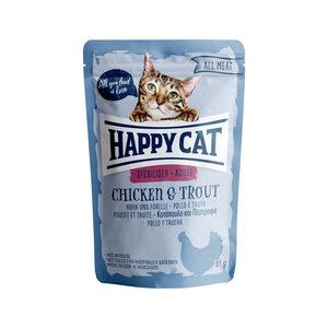 Happy Cat All Meat Adult Sterilised Kip & Forel – Maaltijdzakjes – 24 x 85