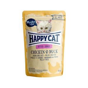 Happy Cat All Meat Junior Kip & Eend - Maaltijdzakjes - 24 x 85 g