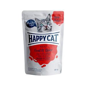 Happy Cat Meat in Sauce Adult Kalf & Lever – Maaltijdzakjes – 24 x 85 g