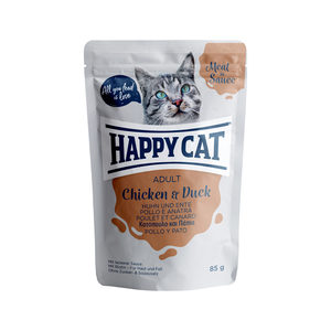 Happy Cat Meat in Sauce Adult Kip & Eend - Maaltijdzakjes - 24 x 85 g
