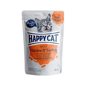 Happy Cat Meat in Sauce Adult Kip & Kalkoen - Maaltijdzakjes - 24 x 85 g