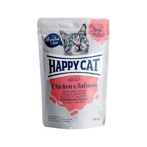 Happy Cat Meat in Sauce Adult Kip & Zalm – Maaltijdzakjes – 24 x 85 g
