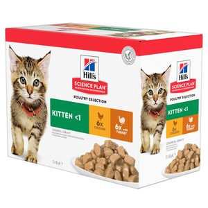 Hill`s Science Plan Kitten Maaltijdzakje Poultry Selection 12 x 85 g