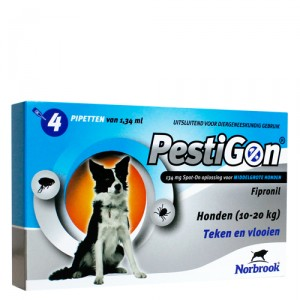 Pestigon Spot-on! hond (10-20kg) 4 x 1,34 ml