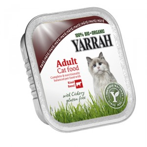 Yarrah-Cat Paté Rind mit Chicorée Bio 16x100g