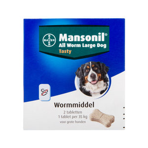 Mansonil All Worm Large Dog - 2 tabletten